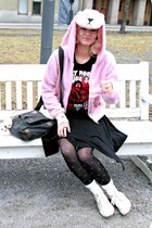 black random tights - dark gray Zack bag - black rosebullet t-shirt