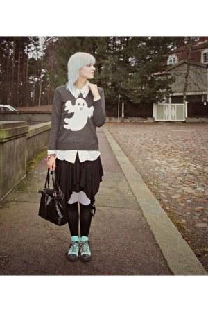 black Sheinside sweater - black vintage bag - black Seppälä socks