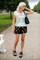 black vintage bag - black random shorts - gold SCUX sunglasses