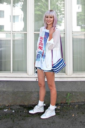white chiffon Sheinside jacket - navy from japan tamagotchi bag