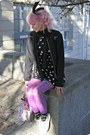 Black-h-m-dress-black-thrifted-coat-amethyst-random-tights