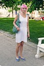 White-random-dress-aquamarine-david-jones-bag-white-glitter-sunglasses
