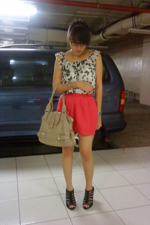 white Theory X blouse - pink thrifted skirt - black bought online shoes - beige
