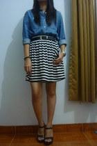 stripes skirt - moms belt - thrifted blouse - Payless heels