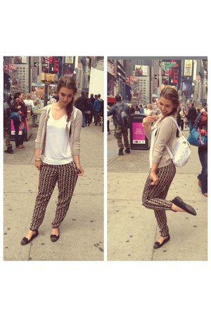 black Forever 21 pants - tan H&M cardigan - black H&M flats