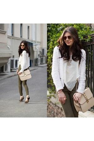 khaki Zara pants - tweed Topshop blazer - studded lace Zara heels