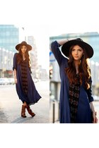 free people boots - Sheinside dress - free people hat