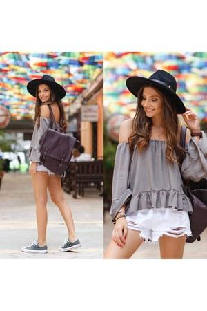 shein bag - shein shorts - romwe blouse
