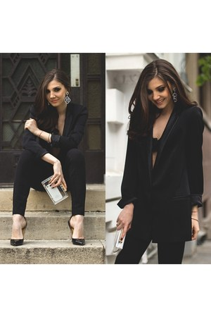 black black tuxedo Zara blazer - asos bag - black black Zara pants