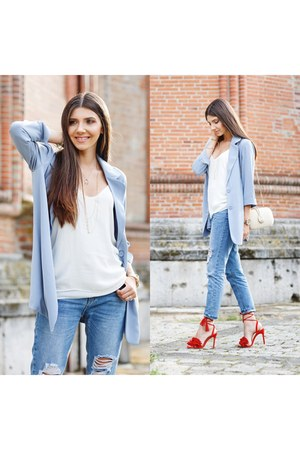 Little Mistress blazer - shein jeans - Jessica Buurman sandals