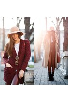 Missguided coat - OASAP hat - Sheinside pants - Little Mistress cardigan