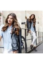 white romwe jeans - sky blue romwe shirt