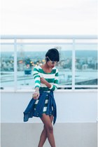 green stripes helmet dress - blue streetstyle jeans