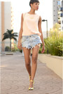 Sky-blue-shorts-jeans-white-zara-bag-peach-zara-blouse