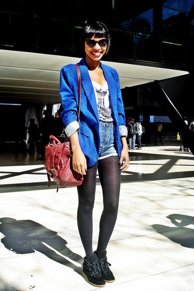 blue fashion boyfriend blazers blazer - sky blue jeans short high waist shorts