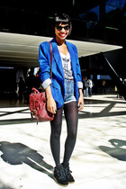 blue fashion boyfriend blazers blazer - sky blue jeans short high waist shorts