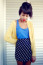 Blue-blouse-blouse-yellow-long-cardigan-cardigan-black-skirt-skirt