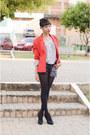 Red-blazer-blazer-black-street-style-shorts