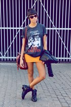 dark gray t-shirt shirt - black fashion boots - mustard skirt skirt