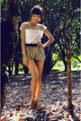 Mustard-sequin-zara-shorts