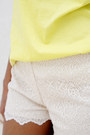 Chartreuse-blouse-cream-lace-shorts