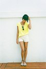 Cream-lace-shorts-chartreuse-blouse