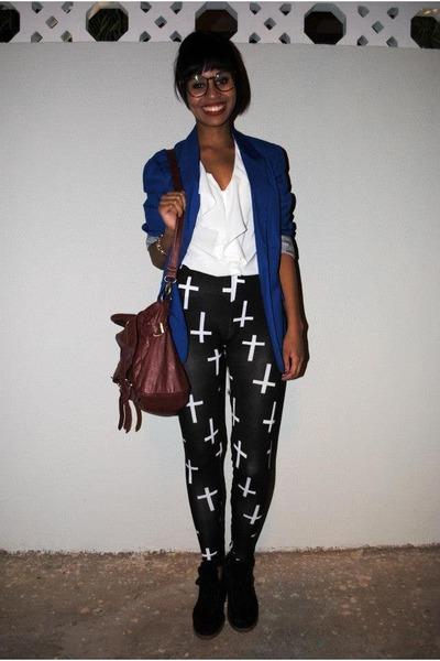 blue fashion week blazer - charcoal gray leggings leggings - white blouse