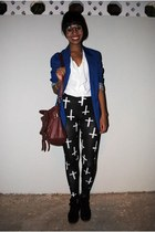 blue fashion week blazer - charcoal gray leggings leggings - white blouse