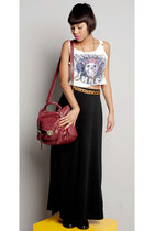 black long skirt skirt - ruby red vintage bag bag - ivory cropped top