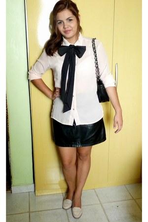 black bow tie - tan shoes - eggshell silk shirt - black Chanel bag