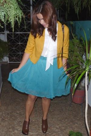 orange mustard blazer - brown boots - dark brown bag - white blouse