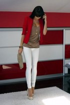 blazer - bag - blouse - heels - pants