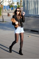 blazer - boots - purse - shorts