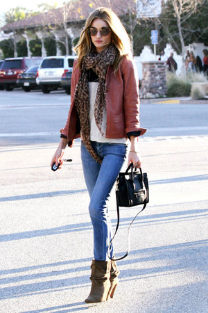 ruby red jacket - brown boots - jeans - scarf - purse - white blouse