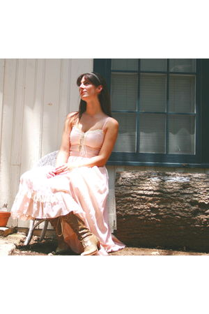 pink vintage dress - beige vintage shoes - white Anthropologie accessories - unk