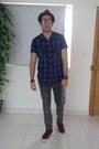 Brown-ecko-hat-blue-pull-bear-shirt-maroon-vans-sneakers