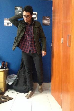 black Pull & Bear jeans - dark green Cubus jacket - maroon Cubus shirt