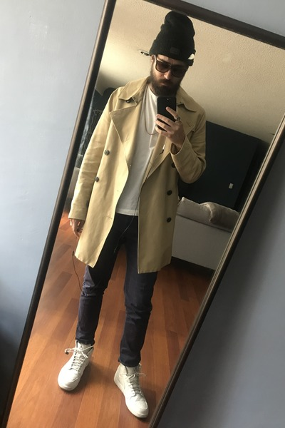 camel trench coat H&M coat - maroon Levis hat - brown ray-ban sunglasses