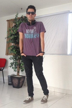 purple pull&bear shirt - black H&M jeans - black Aldo sunglasses