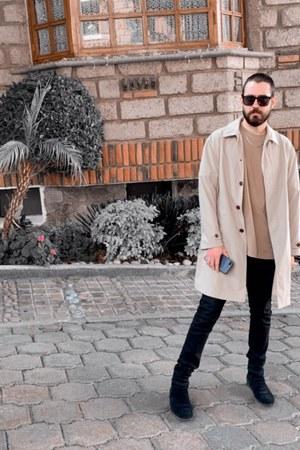 black suede Goodbye Folk boots - camel waterproof Zara coat