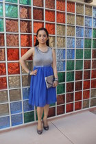 blue colorblock Forever 21 dress - charcoal gray clutch Aldo bag