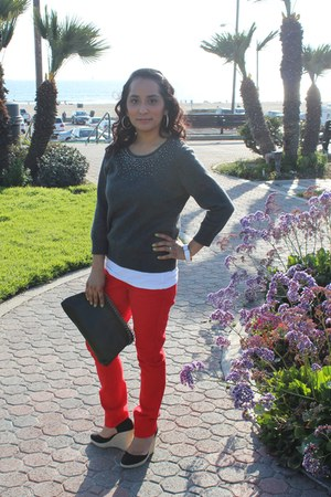 H&M sweater - Forever 21 bag - skinny pants - Forever 21 sandals