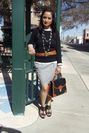 black black Forever 21 sweater - brown vintage bag Dooney & Dourke bag