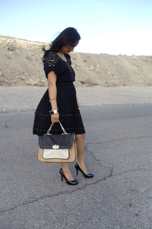 black vintage Buffalo Exchange dress - camel colorblock Aldo bag