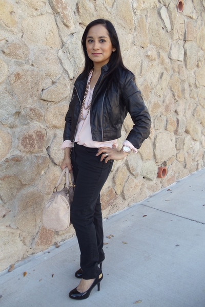 pink Forever 21 blouse - black skinny jeans H&M jeans
