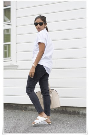 H&M shirt - acne jeans - ray-ban sunglasses - BIKERNSTOCK sandals