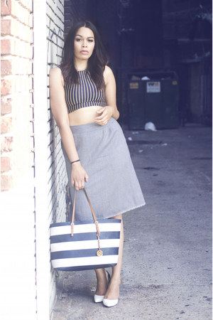 charcoal gray thrifted skirt - blue Michael Kors bag - navy DIY top