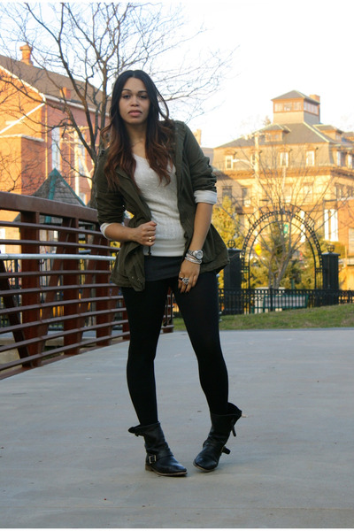 army green Old Navy jacket - ivory H&M sweater