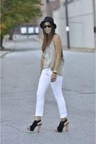 black H&M hat - camel thrifted shirt - white Forever 21 pants