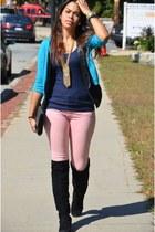 black Nine West boots - light pink H&M jeans - black H&M purse - black H&M vest